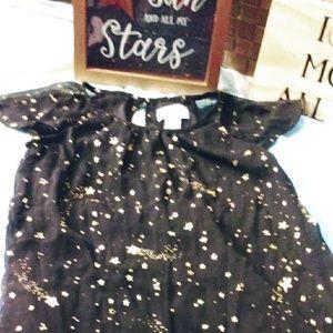 ✨Beaitiful Black Dress with Gold Stars Girls 6-7✨